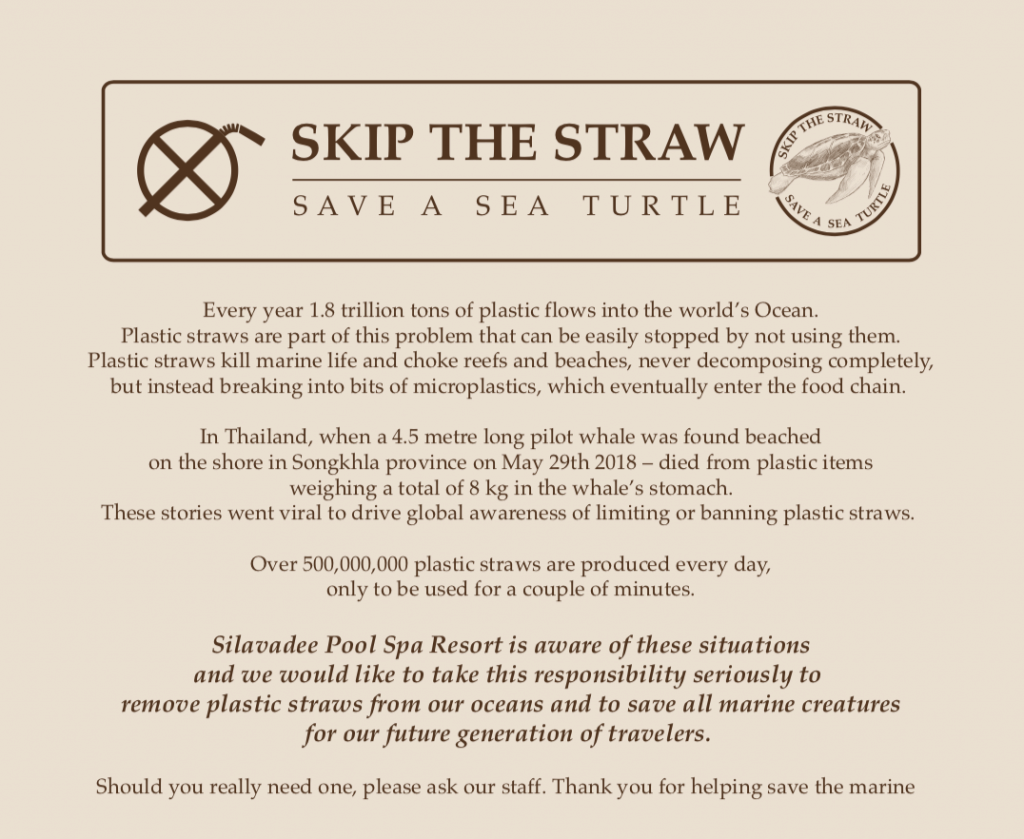 Silavadee Pool Spa Resort Supports Saving A Sea Turtle by Skipping the Straw
